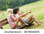 two best female friends using... | Shutterstock . vector #387806005