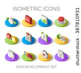 set of bright isometric icons.... | Shutterstock .eps vector #387810931