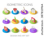 set of bright isometric icons.... | Shutterstock .eps vector #387810964