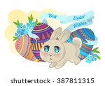 bunny chibi on the background... | Shutterstock .eps vector #387811315
