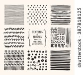 hand drawn textures and brushes.... | Shutterstock .eps vector #387818125