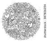 cartoon vector hand drawn... | Shutterstock .eps vector #387826354