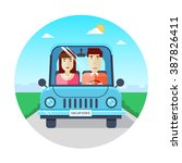 couple traveling by car. world... | Shutterstock .eps vector #387826411