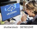 uploading upload data download... | Shutterstock . vector #387831049