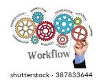 gears and workflow mechanism on ... | Shutterstock . vector #387833644