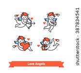 Love angels. Cute cupid boys with presents and gifts. Thin line art icons set. Flat style illustrations isolated on white.
