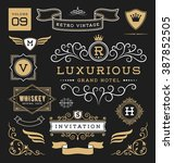 set of retro vintage graphic... | Shutterstock .eps vector #387852505
