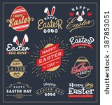 Set of Easter day typography badge and labels design. Happy Easter Day Typographic and element collections. Vector illustration