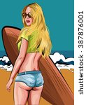 Surfer Girl. Beautiful Woman...
