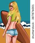 Surfer Girl. Beautiful Woman...