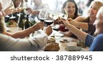 brunch choice crowd dining food ... | Shutterstock . vector #387889945