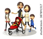 family walking with baby buggy | Shutterstock . vector #387891517