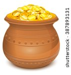 Ceramic Pot With Gold Coins....