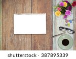 office table with notepad ... | Shutterstock . vector #387895339
