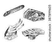vector meat sketch drawing.... | Shutterstock .eps vector #387899605