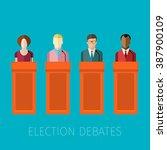 concept of election debates or... | Shutterstock .eps vector #387900109