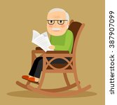 old man reading newspaper | Shutterstock . vector #387907099