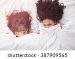 portrait of brunette long hair... | Shutterstock . vector #387909565