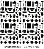 kitchen set. seamless pattern.... | Shutterstock .eps vector #387914701