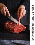fresh beef butcher meat. farmer ... | Shutterstock . vector #387917065
