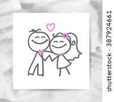 groom and bride  vector hand... | Shutterstock .eps vector #387924661