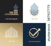 vector set of logo design... | Shutterstock .eps vector #387927775
