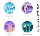 vector set of round emblems... | Shutterstock .eps vector #387927805
