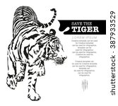 save the tiger  tiger walking ... | Shutterstock .eps vector #387933529