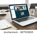 group friends video chat... | Shutterstock . vector #387933835