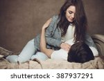 young beautiful pair of lovers... | Shutterstock . vector #387937291