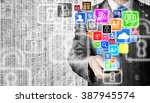business man using smart phone... | Shutterstock . vector #387945574