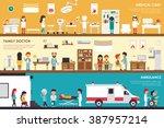 medical care family doctor... | Shutterstock .eps vector #387957214