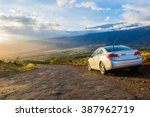 amazing old road with a car... | Shutterstock . vector #387962719