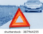car with problems and a red...   Shutterstock . vector #387964255