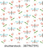 spring time seamless pattern... | Shutterstock .eps vector #387967591