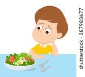 kid sad with his breakfast...   Shutterstock .eps vector #387983677