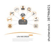law and order concept with flat ... | Shutterstock .eps vector #387986821