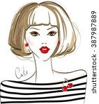 fashion vector girl. beautiful...   Shutterstock .eps vector #387987889