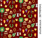 seamless pattern with elements... | Shutterstock .eps vector #387989041
