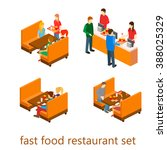 isometric fast food restaurant | Shutterstock .eps vector #388025329