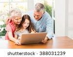 grandparents and granddaughter... | Shutterstock . vector #388031239