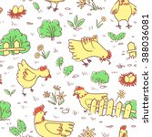 seamless pattern with doodle... | Shutterstock .eps vector #388036081