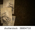 Dark vintage renaissance background with sheets graphic - stock photo