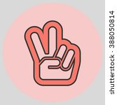 hand with two fingers up in the ... | Shutterstock .eps vector #388050814