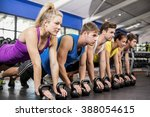 fitness class in plank position ... | Shutterstock . vector #388054615