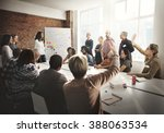 meeting discussion talking... | Shutterstock . vector #388063534