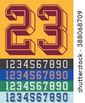 vintage jersey font numbers | Shutterstock .eps vector #388068709