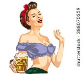 vector pin up girl waitress... | Shutterstock .eps vector #388070359