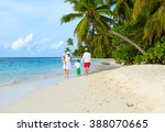 family with two kids walking at ... | Shutterstock . vector #388070665
