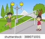 Children Playing Badminton In...